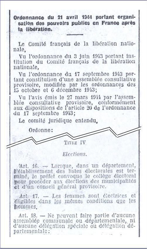 Célèbre En France, les femmes obtiennent le droit de vote - 1944 - 8mars.info PJ48